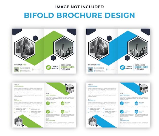 Modelo de design de brochura corporativa bifold Vetor Premium