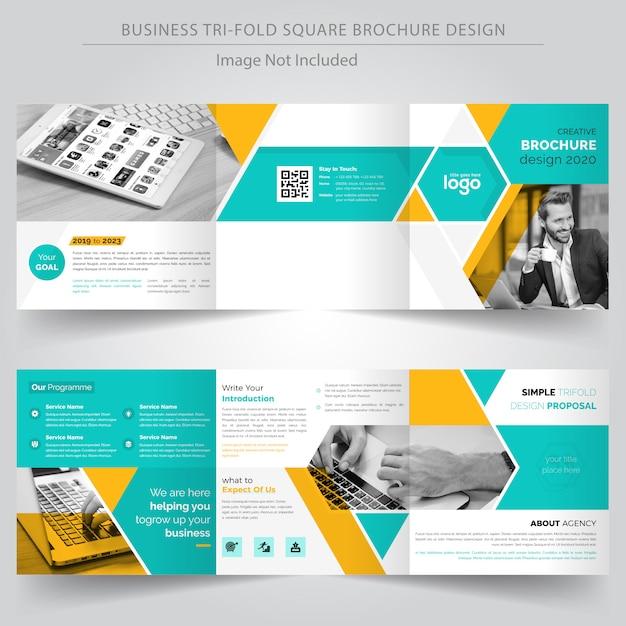 Modelo de design de brochura de negócios com três dobras quadrada Vetor Premium