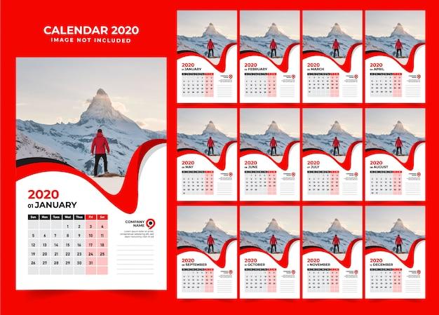 Modelo de design de calendário de parede vermelha 2020 Vetor Premium