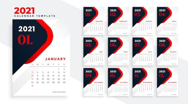 Modelo de design de calendário vermelho e preto para o ano novo de 2021 Vetor grátis
