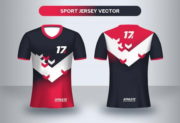 Modelo de design de camisa de futebol. design corporativo, uniforme de clube de futebol frente de t-shirt e vista traseira. Vetor Premium
