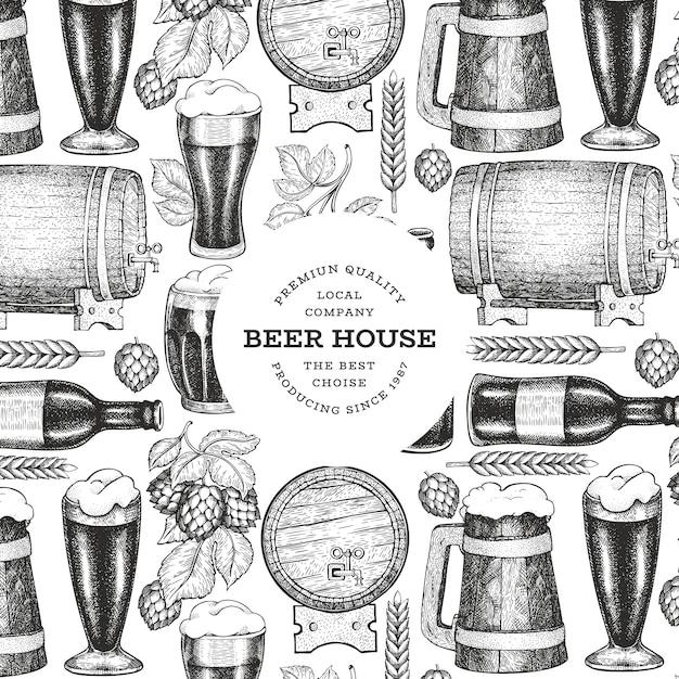 Modelo de design de caneca e lúpulo de copo de cerveja. mão-extraídas ilustração em vetor pub bebida. estilo gravado. ilustração de cervejaria retrô. Vetor Premium