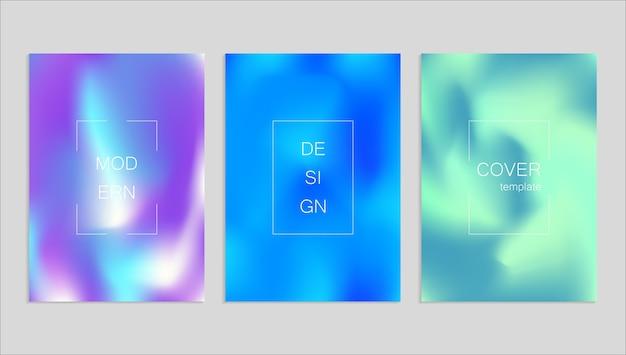 Modelo de design de capa de fuid vetor abstrato mínimo. fundo gradiente de holografia. Vetor Premium