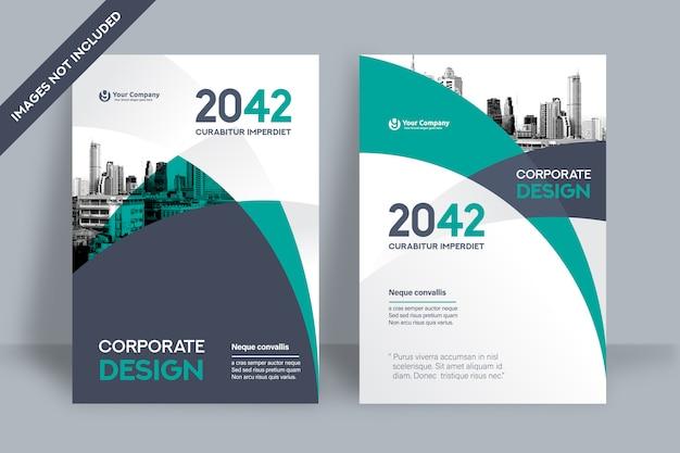 Modelo de design de capa de livro corporativo em a4. Vetor Premium