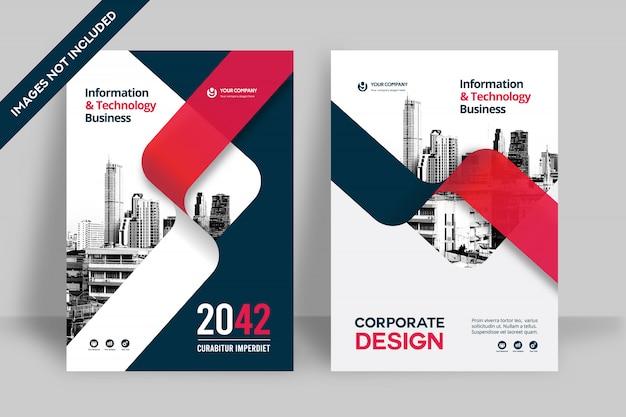 Modelo de design de capa de livro de negócios de fundo de cidade Vetor Premium