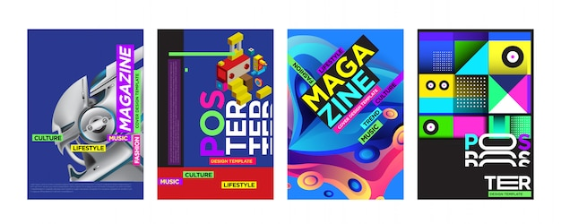 Modelo de design de capa e cartaz para revista Vetor Premium