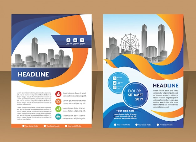 Modelo de design de capa relatório anual moderno Vetor Premium