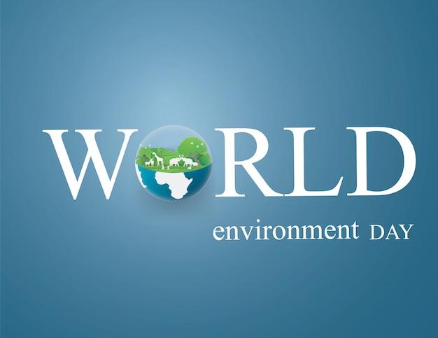 Modelo de design de cartão de dia e meio-dia terra eco Vetor Premium