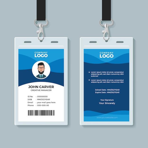 Modelo de design de cartão de identidade de onda azul Vetor Premium