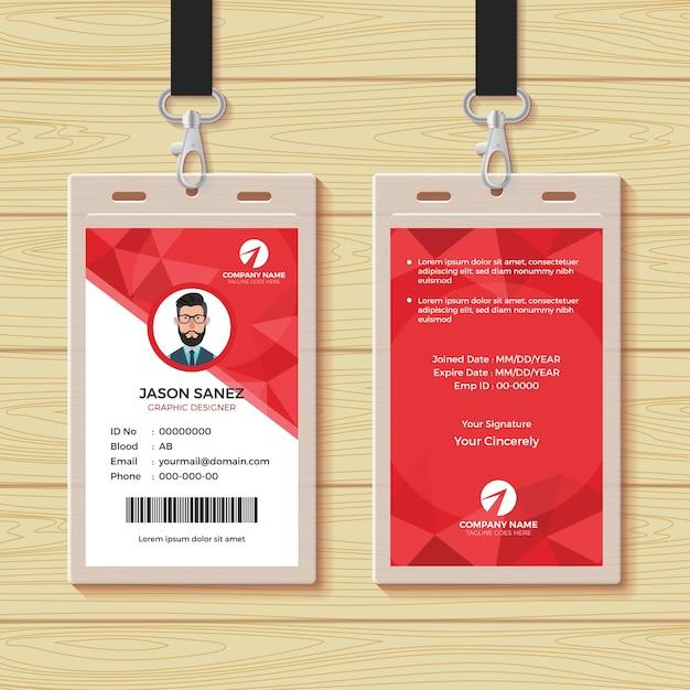 Modelo de design de cartão de identidade geométrico vermelho do empregado Vetor Premium