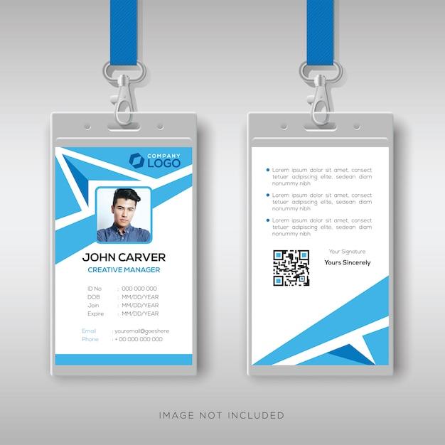 Modelo de design de cartão de identificação abstrato azul Vetor Premium