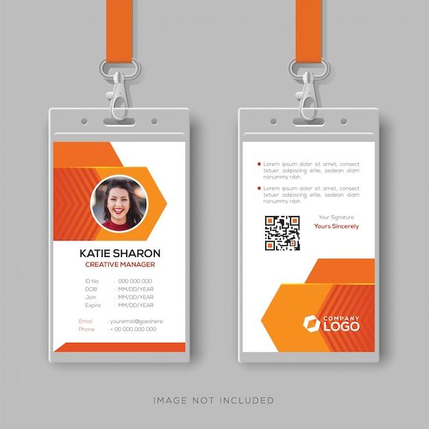 Modelo de design de cartão de identificação abstrato laranja Vetor Premium