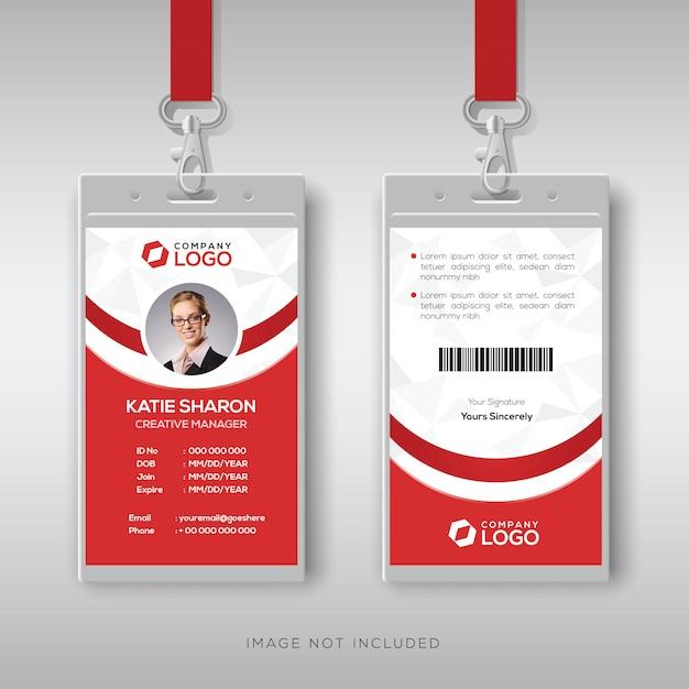 Modelo de design de cartão de identificação vermelho e branco elegante Vetor Premium