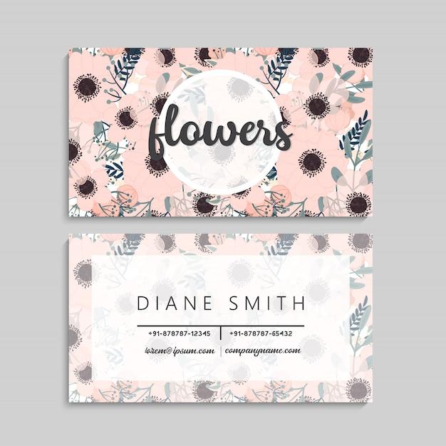 Modelo de design de cartão de visita bonito padrão floral cartão de visita Vetor grátis