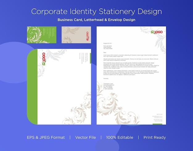 Modelo de design de cartão de visita profissional, papel timbrado e envelope Vetor Premium