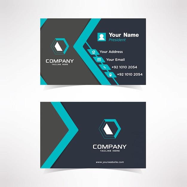 Modelo de design de cartão de visita simples azul tosca Vetor Premium