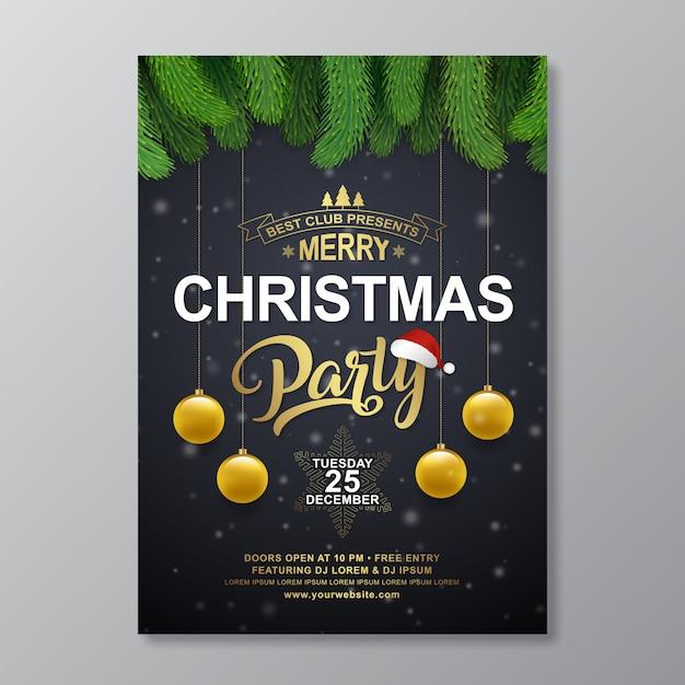 Modelo de design de cartaz de festa de natal Vetor Premium