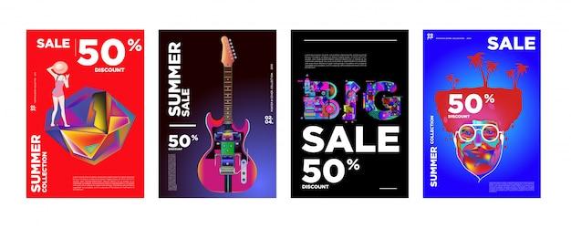 Modelo de design de cartaz de venda de verão com 50% de desconto Vetor Premium