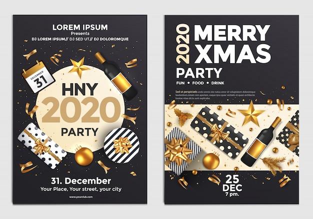 Modelo de design de cartaz ou folheto de festa de natal e ano novo Vetor Premium