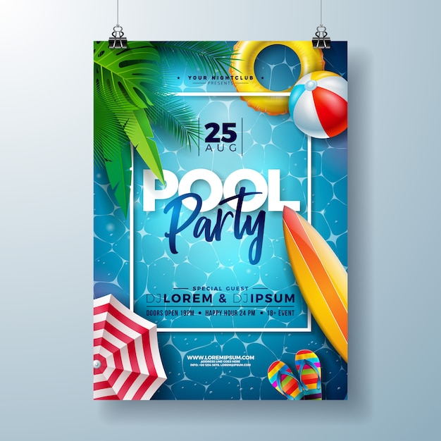 Modelo de design de cartaz verão piscina festa com folhas de palmeira e bola de praia Vetor Premium