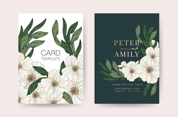 Modelo de design de cartões de convite de casamento Vetor Premium