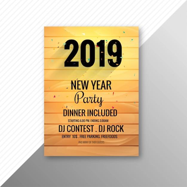 Modelo de design de celebração de folheto de festa de ano novo de 2019 Vetor grátis