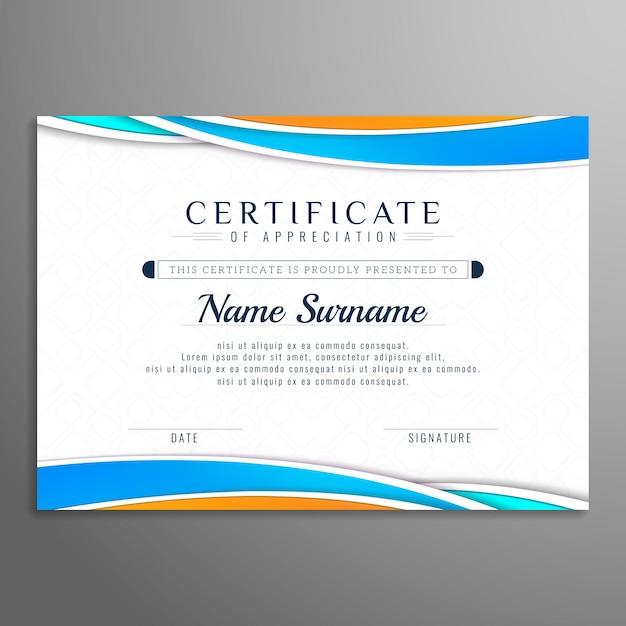 Modelo de design de certificado bonito ondulado abstrata Vetor grátis