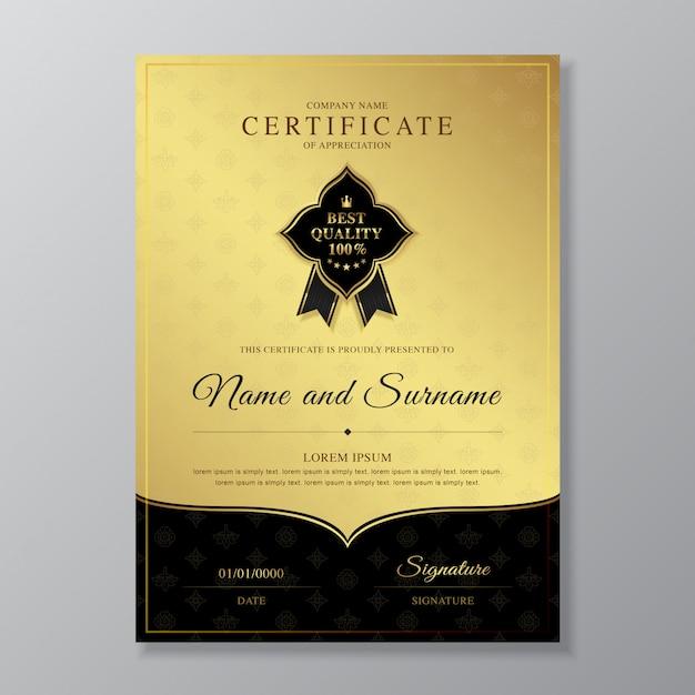 Modelo de design de certificado e diploma de ouro e preto Vetor Premium