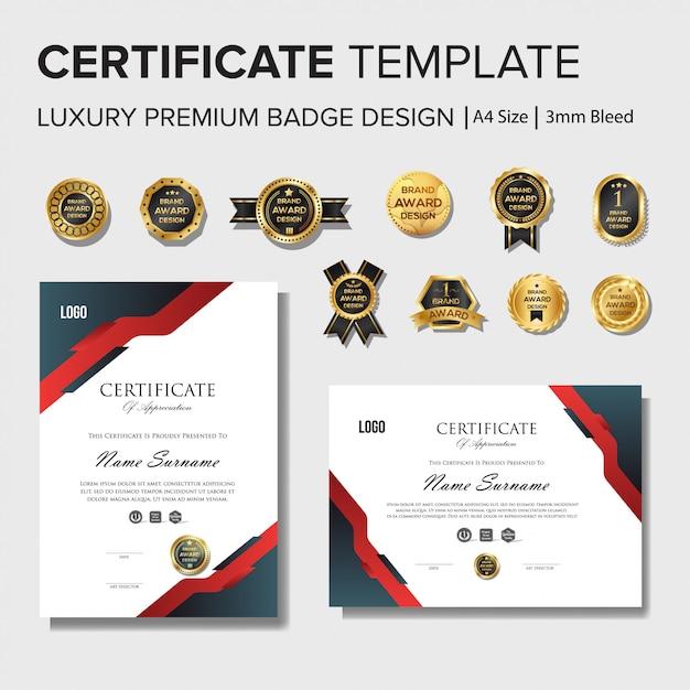 Modelo de design de certificado profissional com conjunto de crachá Vetor Premium
