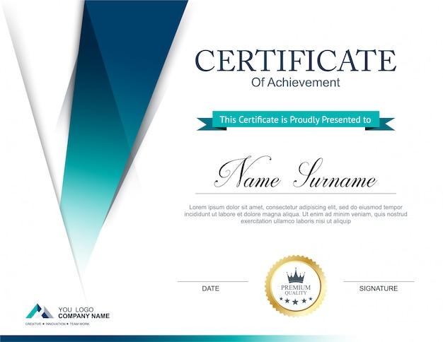 Modelo de design de certificado Vetor Premium