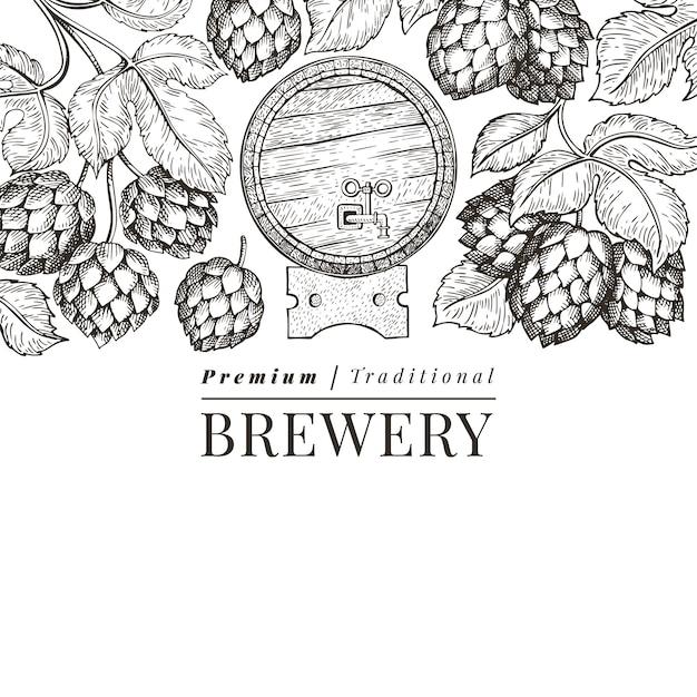 Modelo de design de cerveja e lúpulo. mão-extraídas ilustração em vetor cervejaria. estilo gravado. ilustração retrô de fabricação de cerveja. Vetor Premium