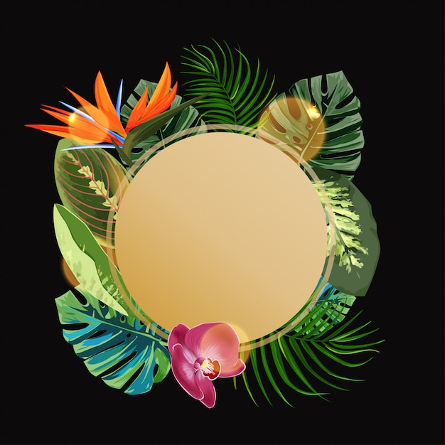 Modelo de design de círculo de plantas tropicais. Vetor Premium