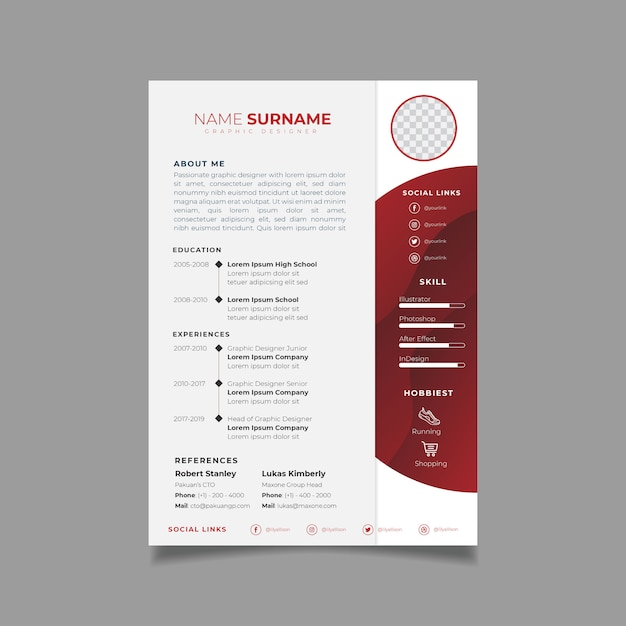 Modelo de design de currículo profissional com estilo minimalista Vetor Premium