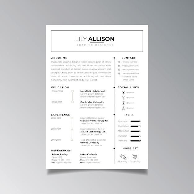 Modelo de design de currículo profissional minimalista. vetor de layout de negócios para o modelo de pedidos de emprego. Vetor Premium