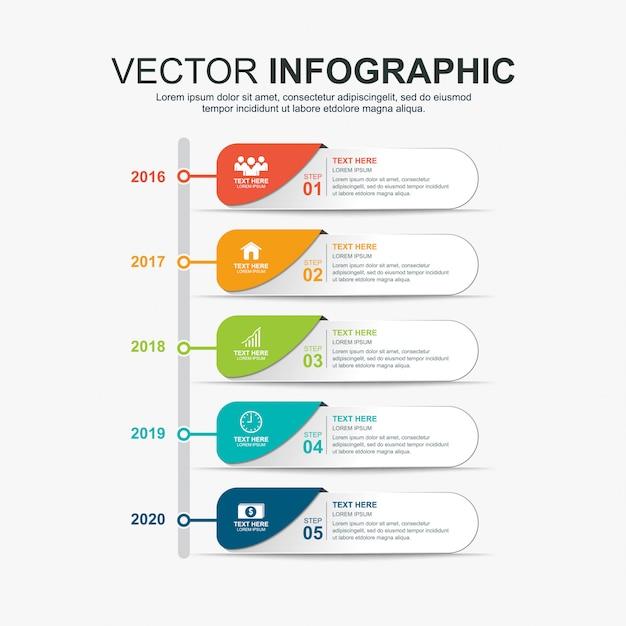 Modelo de design de elementos de cronograma de infográficos Vetor Premium
