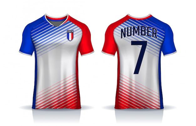 Modelo de design de esporte de t-shirt, camisa de futebol para o clube de futebol. frente uniforme e vista traseira. Vetor Premium