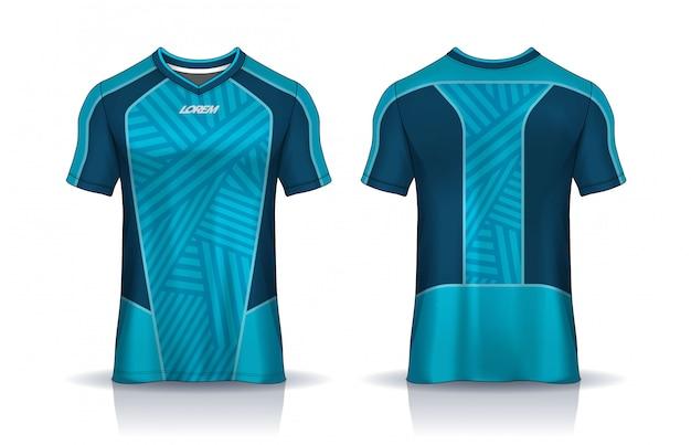 Modelo de design de esporte de t-shirt, maquete de camisa de futebol para clube de futebol. vista frontal e traseira uniforme. Vetor Premium