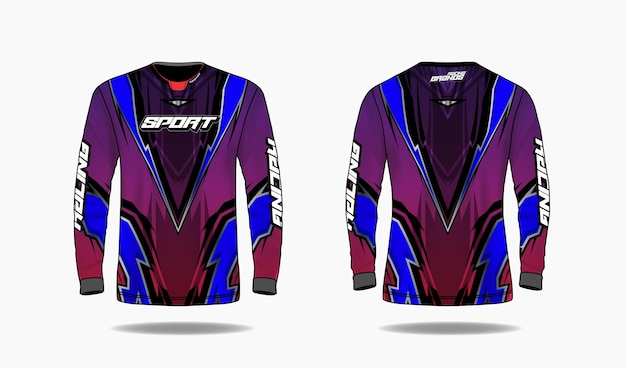 Modelo de design de esporte de t-shirt, modelo de manga comprida uniforme frente e vista traseira. Vetor Premium