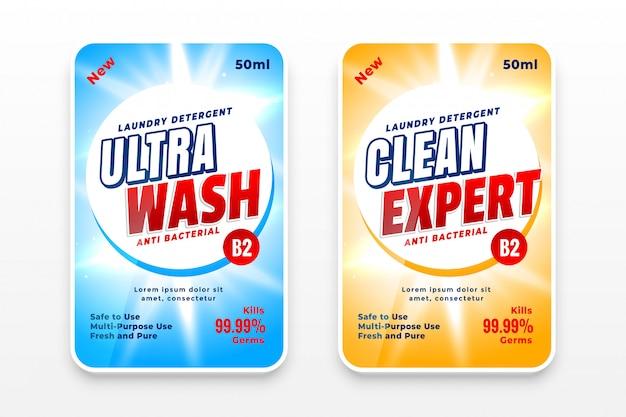 Modelo de design de etiquetas de detergente ou desinfetante para a roupa Vetor grátis