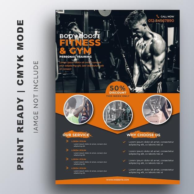 Modelo de design de fitness gym flyer Vetor Premium
