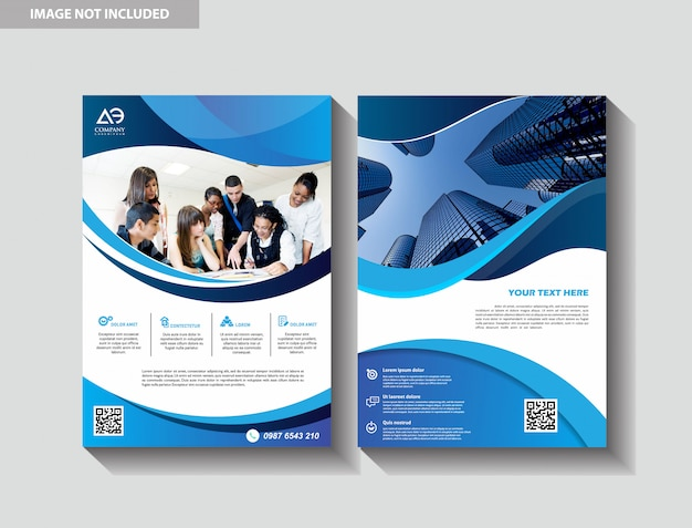 Modelo de design de folheto capa moderna brochura folheto de livro de negócios de fundo cidade Vetor Premium