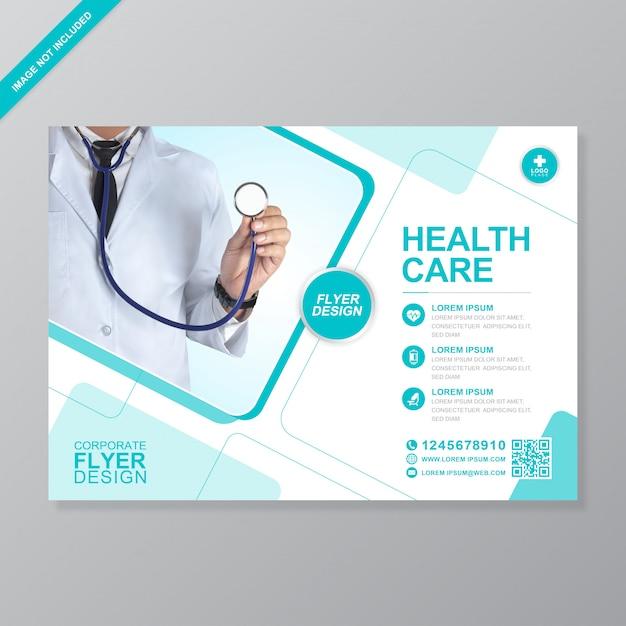Modelo de design de folheto corporativo de cuidados de saúde e médicos a4 Vetor Premium