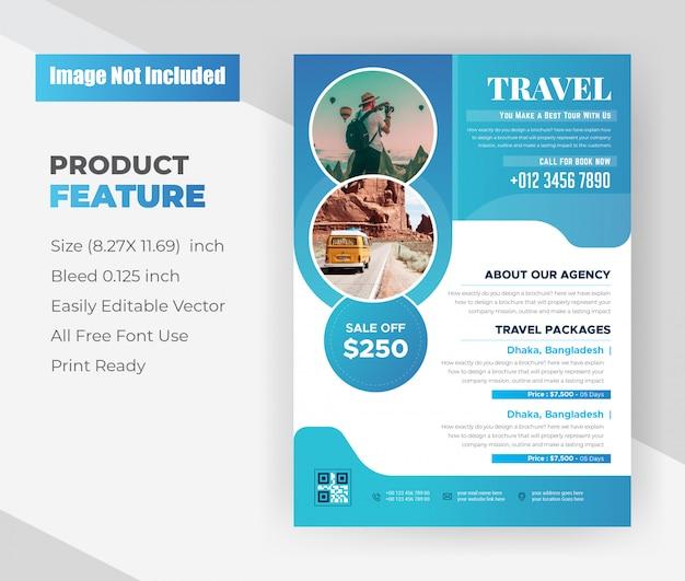 Modelo de design de folheto de agência de viagens e viagens de férias Vetor grátis