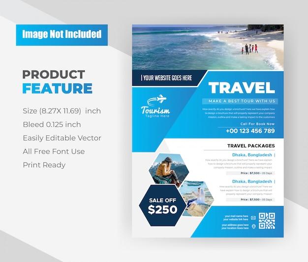 Modelo de design de folheto de agência de viagens Vetor grátis