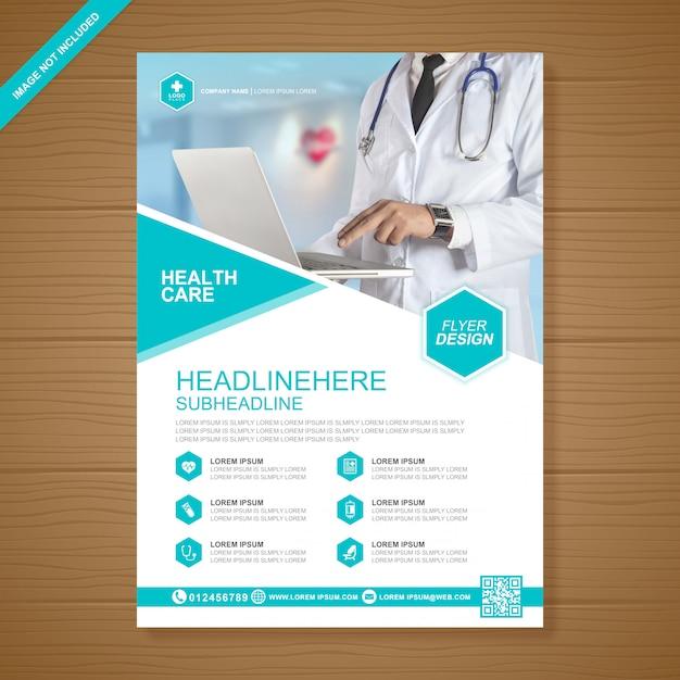 Modelo de design de folheto de assistência médica e médica Vetor Premium