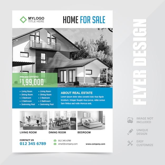 Modelo de design de folheto de flyer de venda em casa de imóveis Vetor Premium