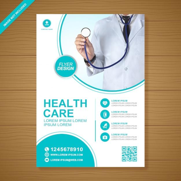 Modelo de design de folheto de saúde e médicos Vetor Premium