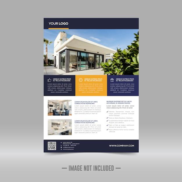 Modelo de design de folheto imobiliário Vetor Premium