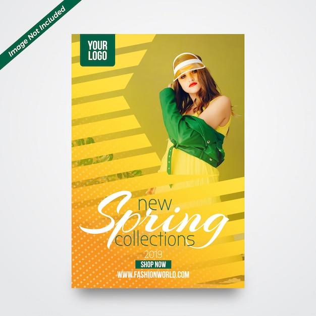 Modelo de design de folheto promocional de venda de primavera Vetor Premium