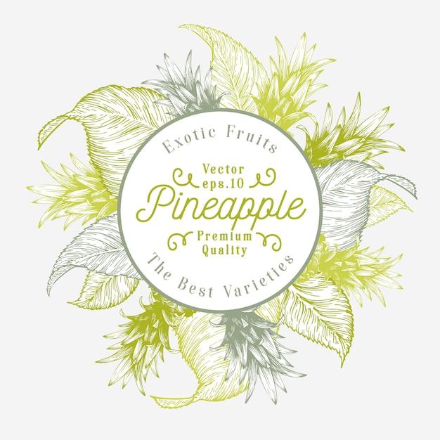 Modelo de design de fruta abacaxi. ilustração tirada mão da fruta do vetor. fundo tropical retro gravado do estilo. Vetor Premium